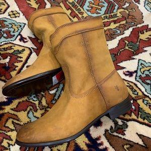 New Frye Cara Roper Short Riding Cognac Boots 7